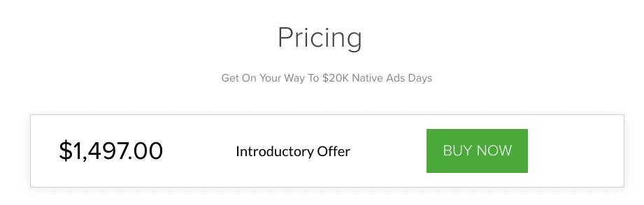 Native Ads Masterclass Pricing