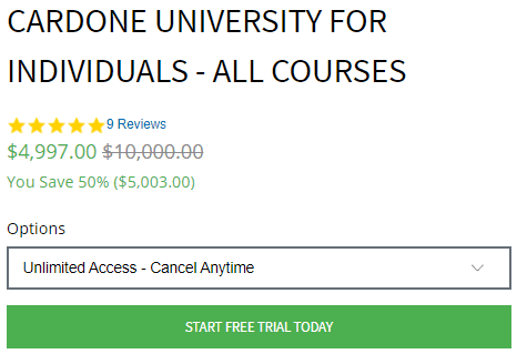Grant Cardone Sales Training University Price Variance