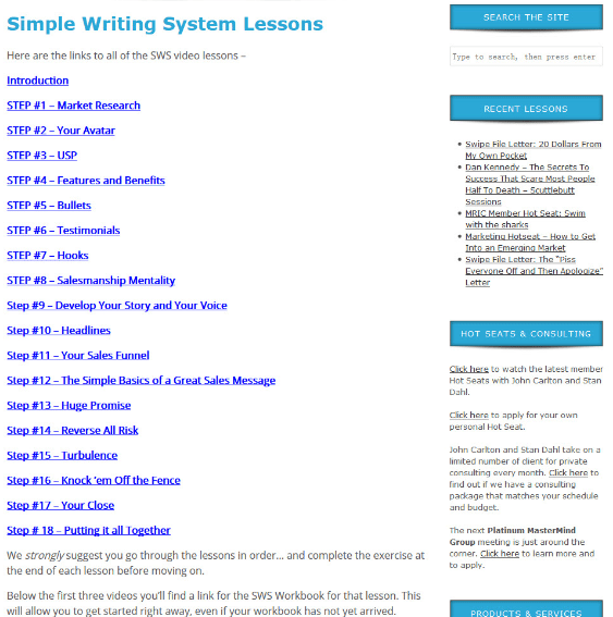 John Carlton Simple Writing System 2.0 Steps