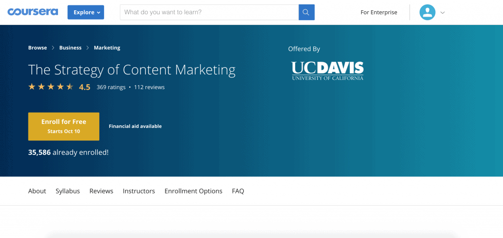 The Strategy of Content Marketing-Coursera