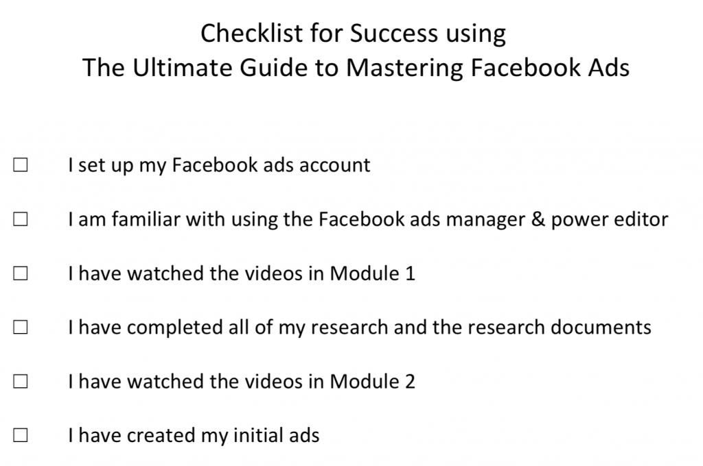 Facebook Ads Profit Maximizer Bootcamp 2.0 Checklist