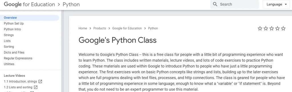 Google's Python Class (Google) Course
