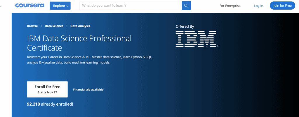 IBM Data Science Professional Certificate (Coursera) Course