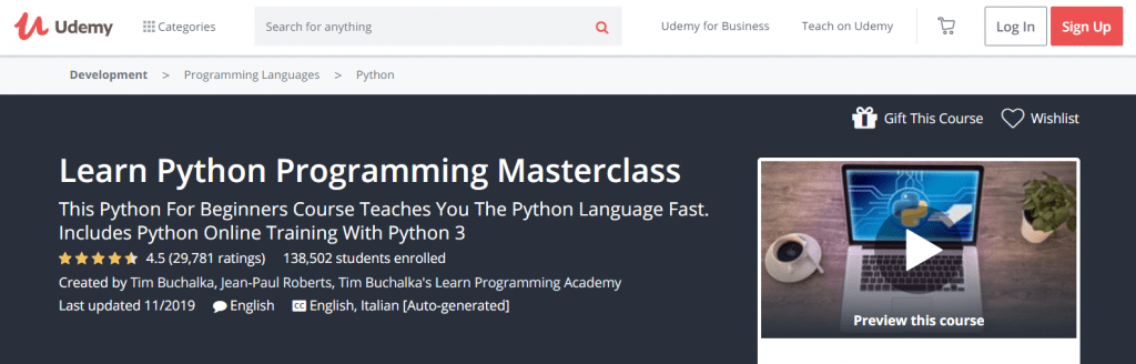 Learn Python Programming Masterclass (Udemy) Course