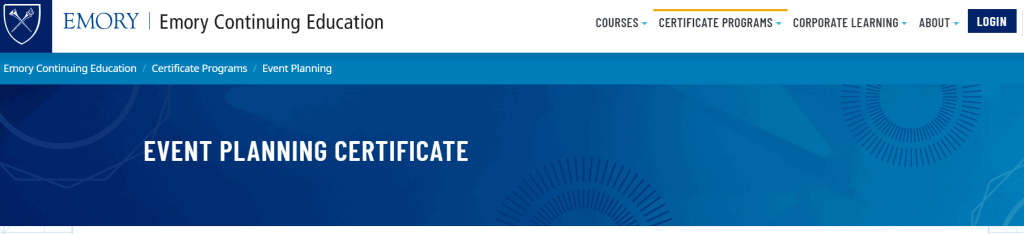Event Planning Certificate - Emory University