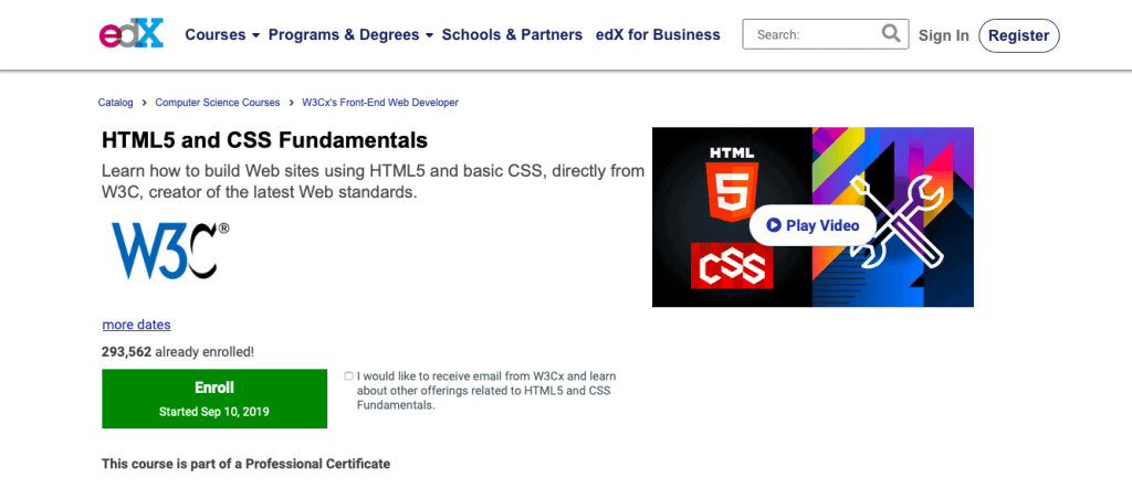 HTML5 and CSS Fundamentals by EdX