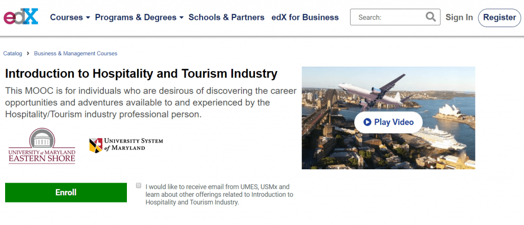 Introduction to Hospitality and Tourism Industry - edX