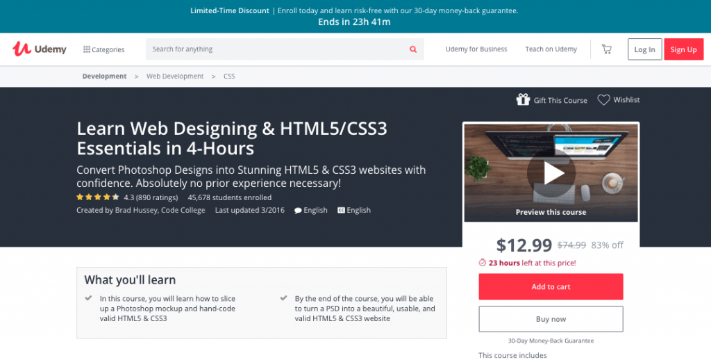 Learn Web Designing & HTML5/CSS3 Essentials in 4-Hours by Udemy