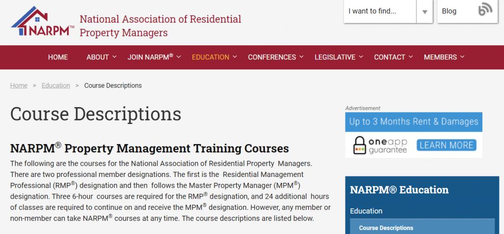 NARPM Property Management Training Courses