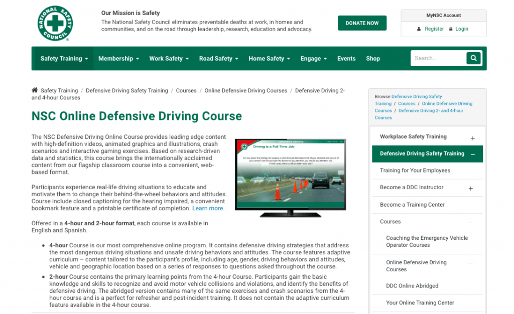 NSC Online Defensive Driving Course