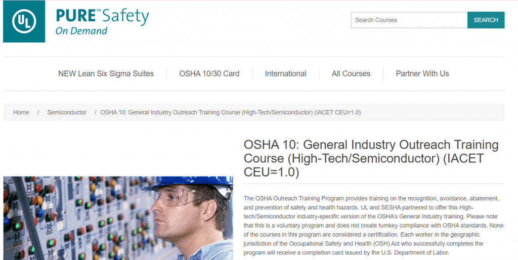 OSHA 10 - General Industry Outreach Training Course — Pure Safety