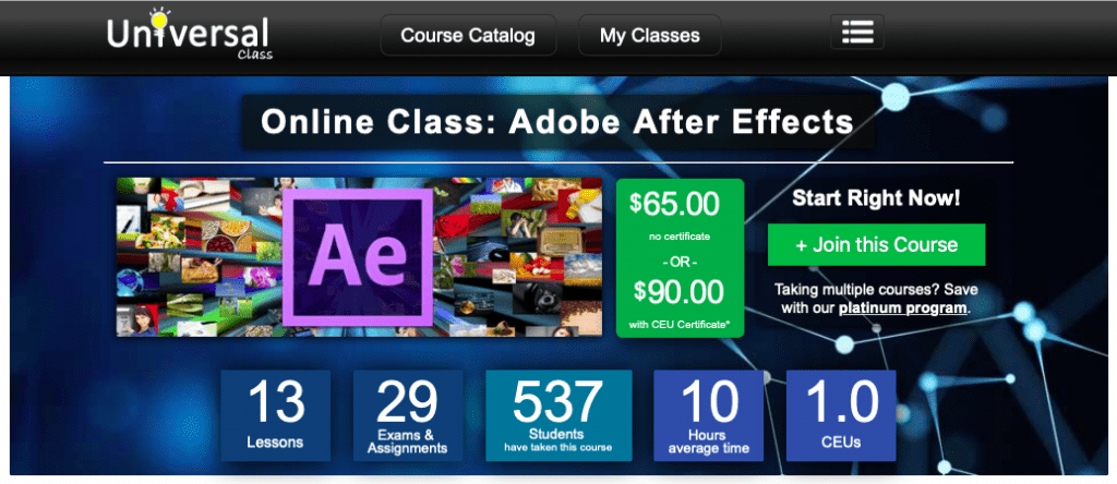 Online Class on Adobe After Effects from Universal Class Course