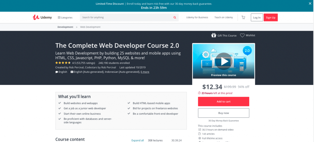 The Complete Web Developer Course 2.0 by Udemy