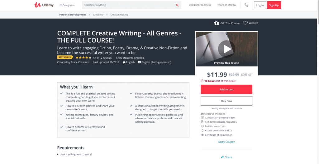 Complete Creative Writing Page Link