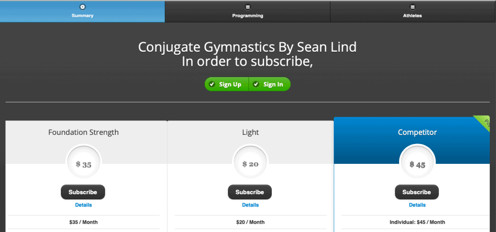 Conjugate Gymnastics website