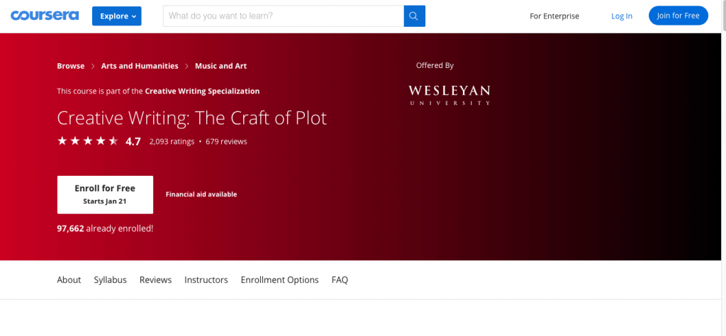 Creative Writing The Craft of Plot — Wesleyan University