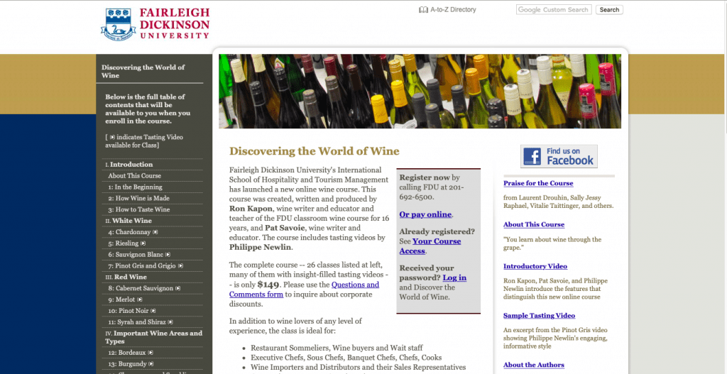 Discovering the World of Wine — Fairleigh Dickinson University