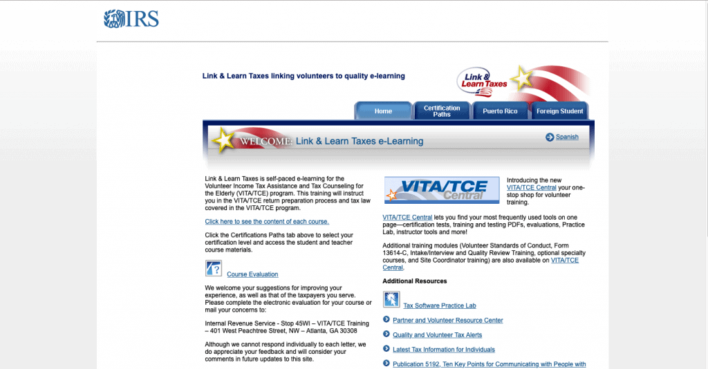 Link and Learn Taxes by IRS