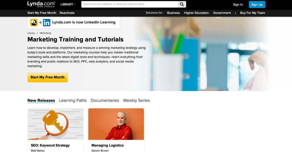 Marketing Tutorials at Lynda.Com