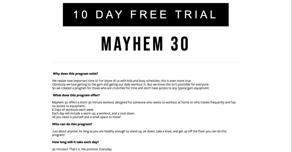 Mayhem 30 Page Link