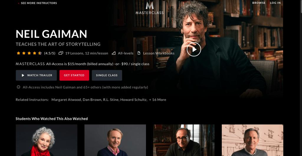 Neil Gaiman Masterclass Page Link