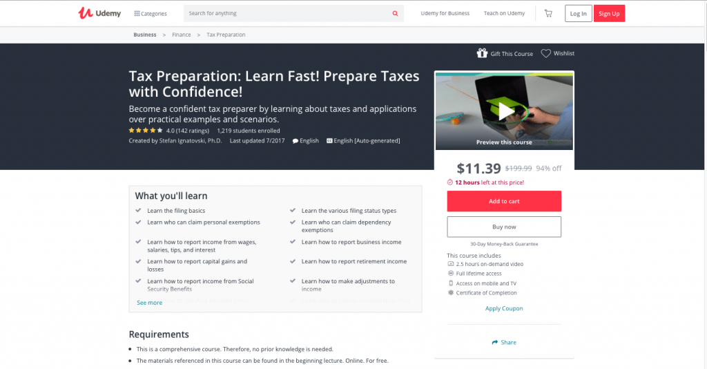 Tax Preparation Learn Fast! Prepare Taxes with Confidence! by Udemy
