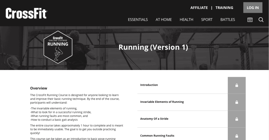 The CrossFit Running Course Page