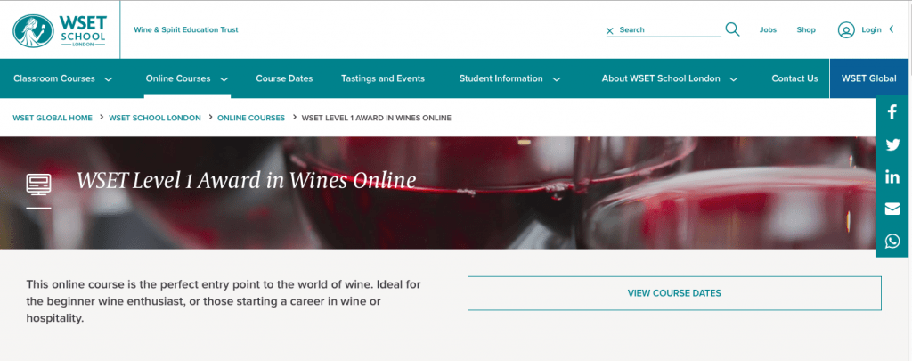 WSET Level 1 Award in Wines Online — WSET School, London