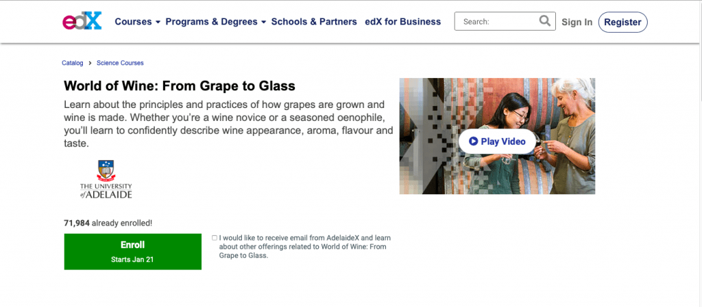 World of Wine From Grape to Glass — edX