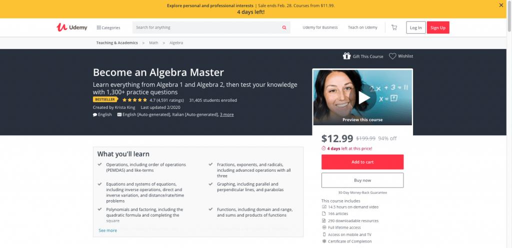 Become an Algebra Master (Udemy)
