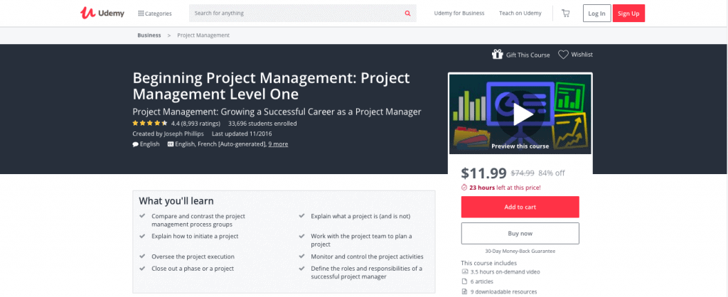 Beginning Project Management Project Management Level One