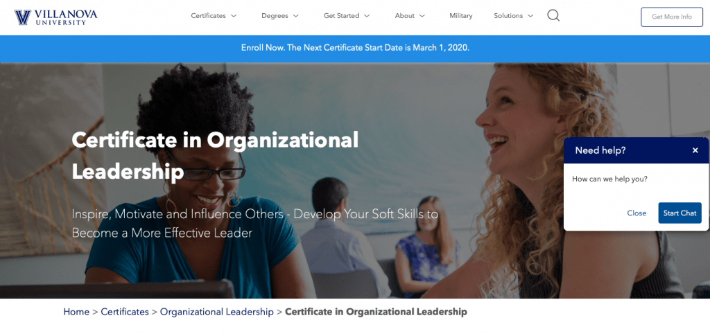Certificate in Organizational Leadership — Villanova University