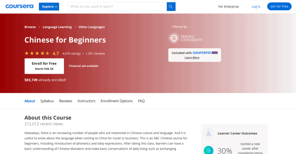 Chinese for Beginners — Coursera