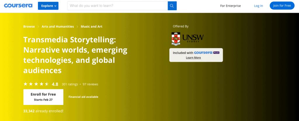 Coursera's Transmedia Storytelling via UNSW