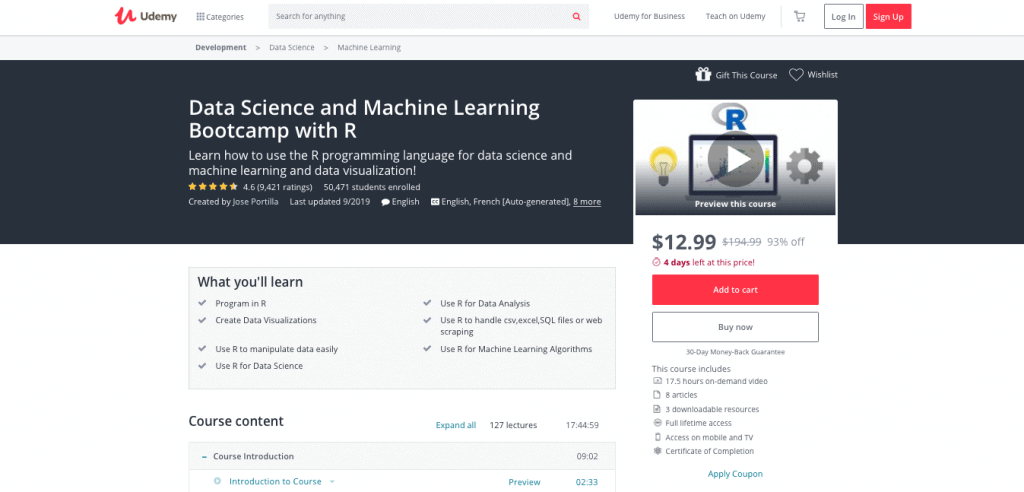 Data Science and Machine Learning Boot Camp with R