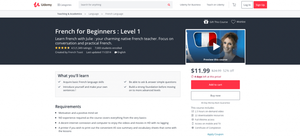 French for Beginners Level 1 — Udemy