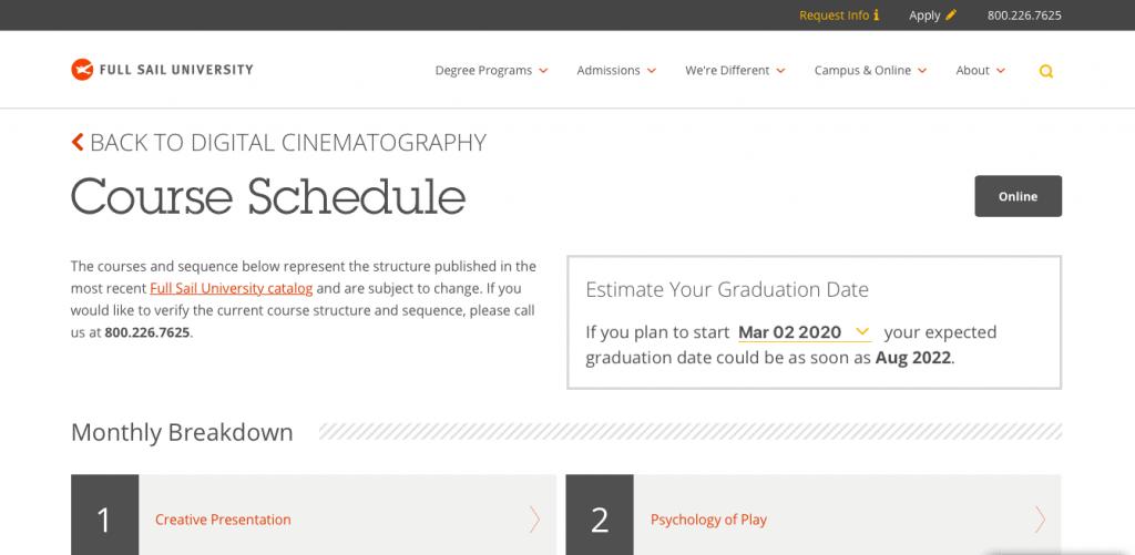 Full Sail University Digital Cinematography Bachelor's Degree
