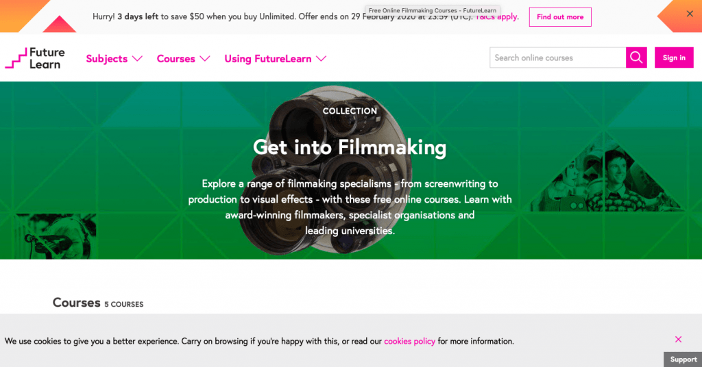 FutureLearn's Filmmaking Collection of Courses