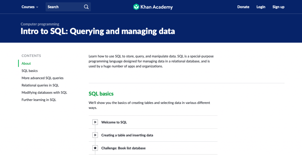 Intro to SQL Querying and Managing Data (Khan Academy)