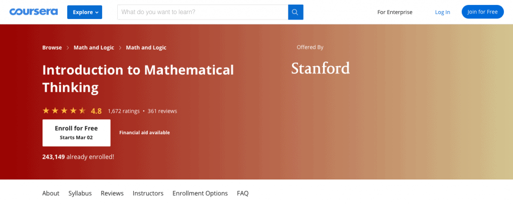 Introduction to Mathematical Thinking (Coursera)