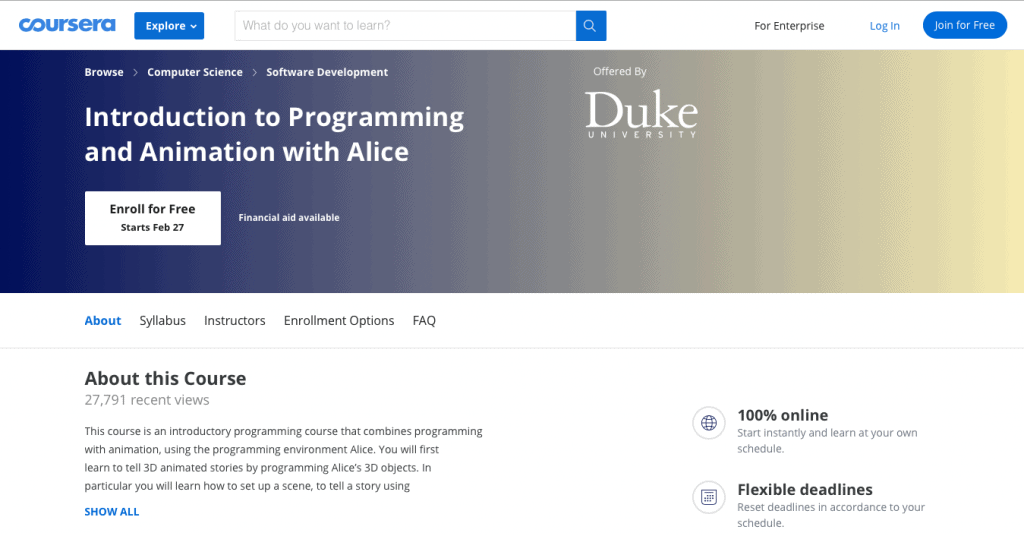 Introduction to Programming and Animation with Alice