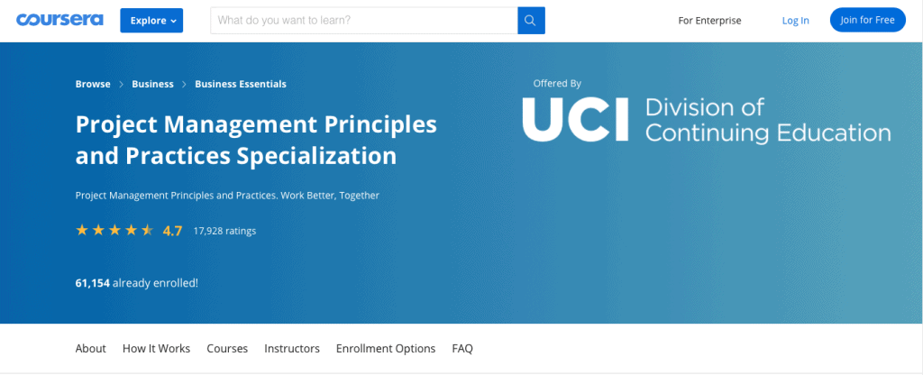 Introduction to Project Management Principles and Practices Specialization