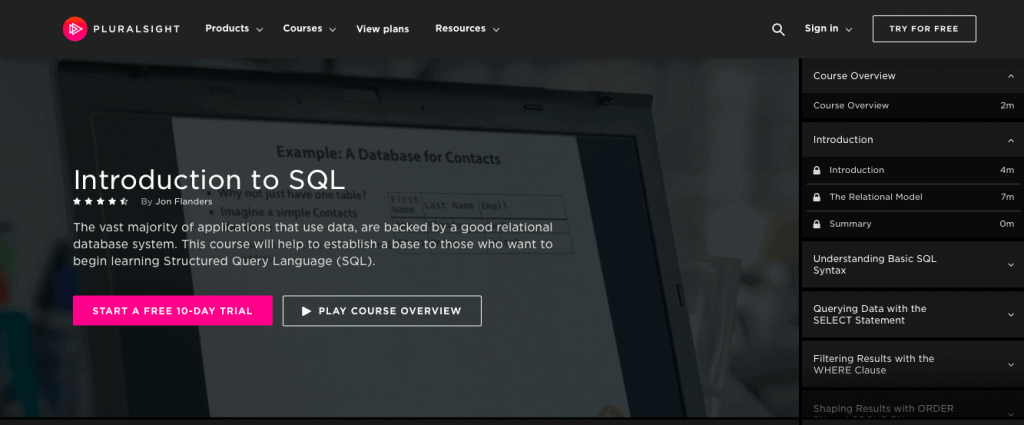 Introduction to SQL (Pluralsight)