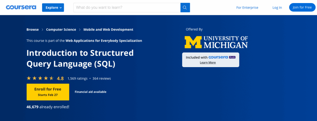 Introduction to Structured Query Language (SQL) (Coursera)