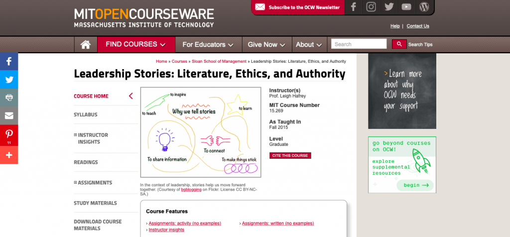 Leadership Stories Literature, Ethics, and Authority — MIT OpenCourseWare