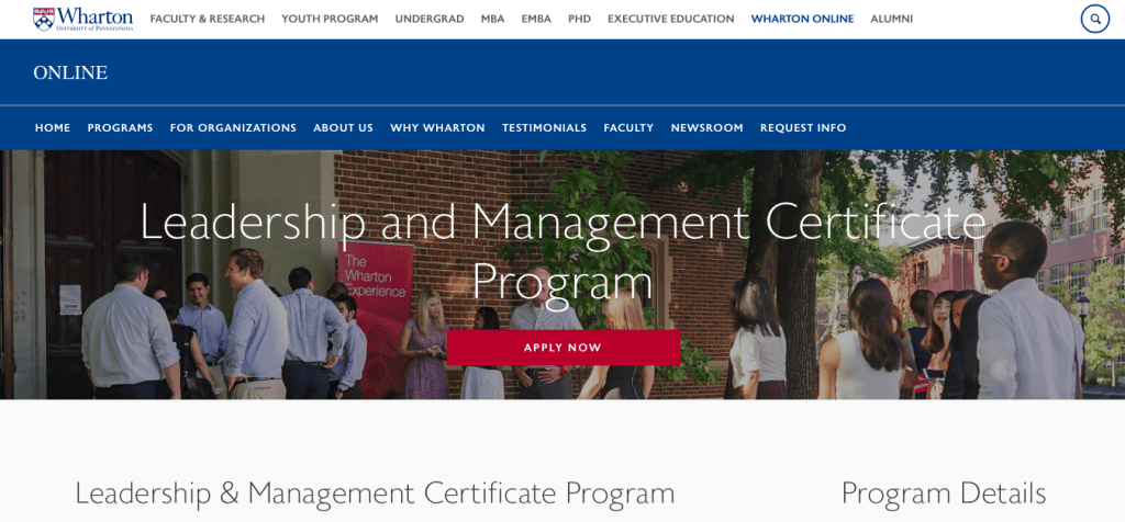 Leadership and Management Certificate Program — Wharton University