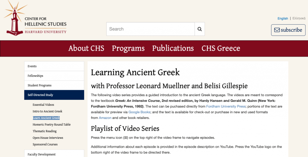Learn Ancient Greek — Harvard University