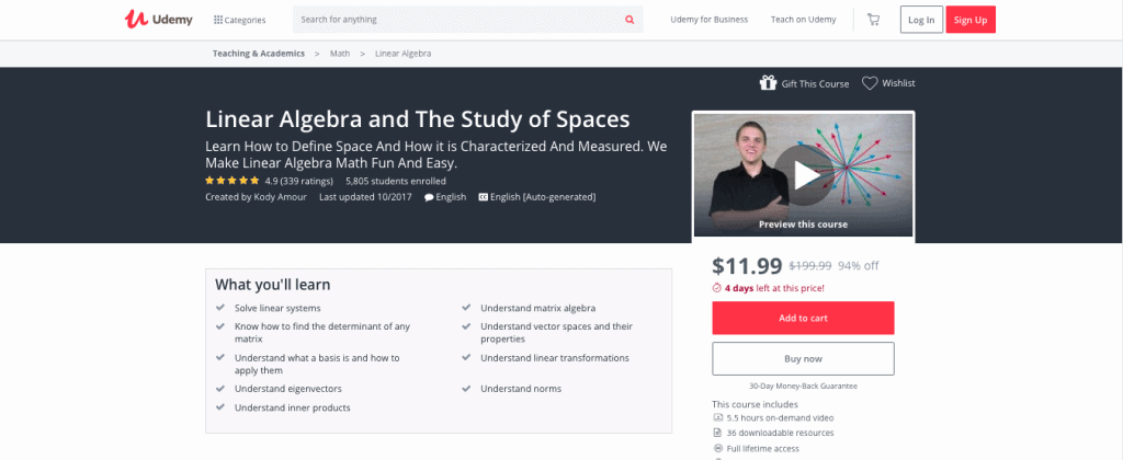 Linear Algebra and the Study of Spaces (Udemy)