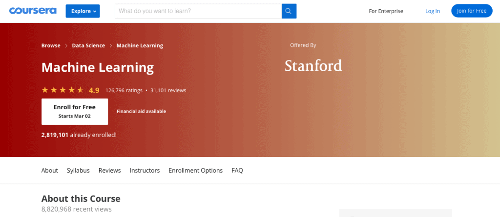 Machine Learning (Stanford)