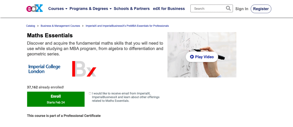 Maths Essentials (edX)